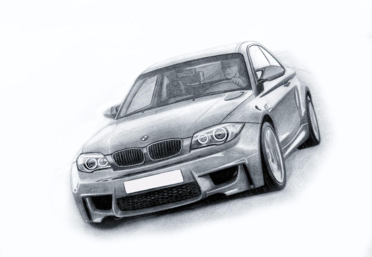Рисунки простым карандашом машины бмв